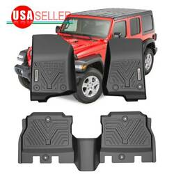 Floor Mats All Weather For 2018 2019 2020 2021 Jeep Wrangler Jl 4dr Front And Rear