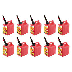 Midwest Can Company 1210 1 Gallon Gas Can Fuel Container Jugs And Spout 10 Pack