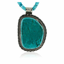 1370tag Large Certified Silver Navajo Turquoise Native American Necklace 15754