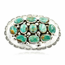1000tag Certified Nuggets Silver Navajo Natural Turquoise Native Buckle 10527-
