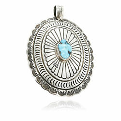 1470tag Collectable Certified Silver Navajo Turquoise Bolo Tie Pendant 24112
