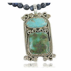 850tag Certified Silver Navajo Turquoise Native American Necklace 390661181988