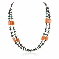 480tag 2 Strand Certified Silver Navajo Turquoise Agate Necklace 750106-44