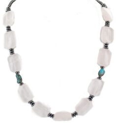 270tag Silver Certified Navajo Turquoise Pink Quartz Native Necklace 750207-1