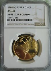 1994 M Russia Gold 100 Roubles Ngc Pf-68 Ult.cameo- Ballet