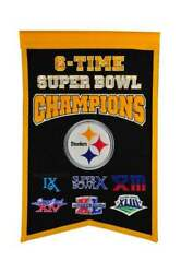 Pittsburgh Steelers Six Time Super Bowl Champions Banner Bradshaw Swann New