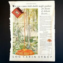 Vintage 1930s Towleandrsquos Log Cabin Syrup Print Ad 1930 Double Maple Goodness Art
