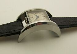 Vintage 1940's Stainless Solex Big Curved Drivers Watch 38mm X 23mm U Shaped