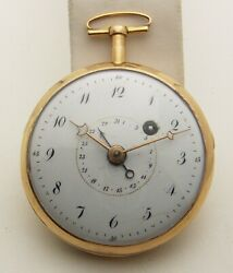 18th Century French Verge Fusee With Calendar Hand 18k Gold Running 49mm