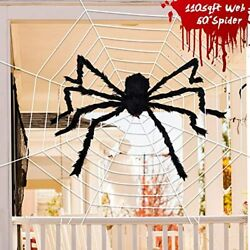 Halloween Decorations 110 Sqft Giant Spider Web 60andrdquo Big Fake Large For