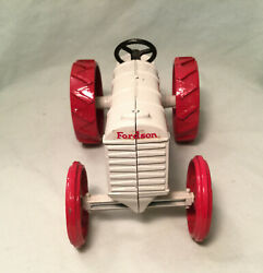 Vintage White And Red Fordson Toy Tractor Roughly 6 1/2 X 3 5/8 X 3 3/4 9060