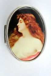 Victorian Style Hand Painted Enamel Erotic Lady Oval Pill Box 925 Silver