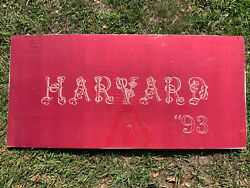 Antique 1893 Harvard University Hand Stitched Silk Banner Sign Pennant Red