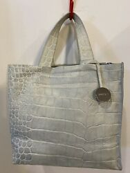 Vintage Furla Crocodile Leather Light Green Small Tote Bag Authentic Italy