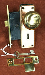 Antique Mortise Brass Corbin Lock Set With Key, Plates, Knobs, And Striker
