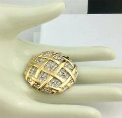 Vintage Richelieu Gold Tone Round Basket Weave Brooch Pin With Crystal Stones