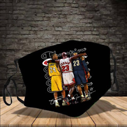 Kobe Bryant Michael Jordan & LeBron-James Face Mask One Size Fits All