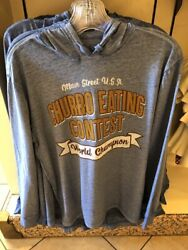 New Disney Parks Churro Eating Contest Hoodie Hooded Pullover Top Shirt Large