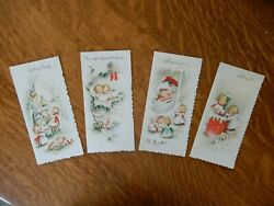 4 Adorable Vintage Used Christmas Cards Angels Glitter