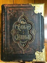1877 Leather Bound Holy Bible With Matthew Henry's Commentaries