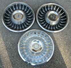 1961 Cadillac Hubcap Lot Of 3 Original Wheelcover W/1 Crest Used Orig Hubcaps 61