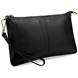 Clutch Wristlet Women#x27;s Real Leather Large RFID Blocking Wallet With Shoulder $25.74