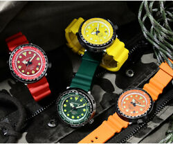 San Martin Men Automatic Summer Watches Fashion Retro Colorful Steel Diver Watch