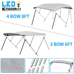 600d Bimini Top Boat Roof Cover 3/ 4 Bow 61-96 Width Cover 6/ 8ft Length Gray