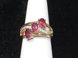 14k Rubellite And Diamond Ring- Estate Sale- Clearance Sale