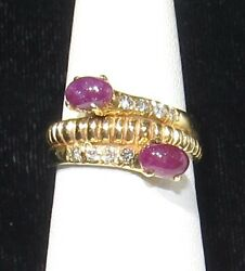 14k Ruby And Diamond Accent Ring - Estate Sale- Clearance Sale
