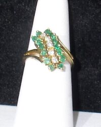 14k Emerald And Diamond Cocktail Ring - Estate Clearance Closeout