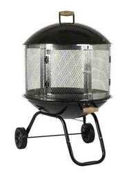 Outdoor 28 Mobile Portable Round Steel Wood Fire Pit With Convenient Wheels New