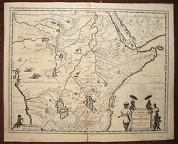 Map Original African Ethiopia Abyssinia Per Blaeu Geographer 1650 Antic Map