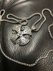 Celtic Solar Cross Mens Stainless Steel Pendant Chain Necklace Jewelry Vintage $15.99