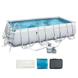 Bestway 18ft X 9ft X 4ft Rectangular Above Ground Swimming Pool W/ Ladder And Pump