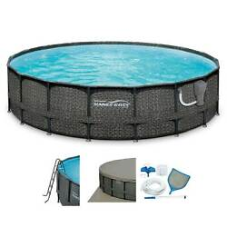 Summer Waves Elite 18ft X 48in Above Ground Frame Swimming Pool Set With Pump