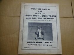 Allis Chalmers Spring Spike Tooth Coil Tine Harrow Operators Manual Parts
