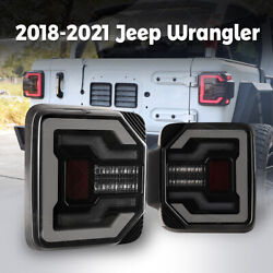 For 2018+ Jeep Wrangler Jl Jlu Led Tail Lights Sequential Turn Signal Lamp Smoke