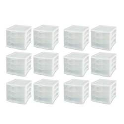 Sterilite Clearview Compact Portable 3 Drawer Storage Organizer Cabinet, 12 Pack