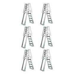 Vinyl Works Ladder With Barrier For Swimming Pools 48 - 56 Tall White 6 Pack