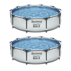 Bestway 10' X 30 Steel Pro Frame Above Ground Family Swimming Pool Set 2 Pack