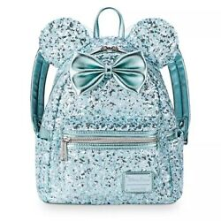 Disney Parks Loungefly Arendelle Aqua Minnie Mouse Sequined Mini Backpack - New