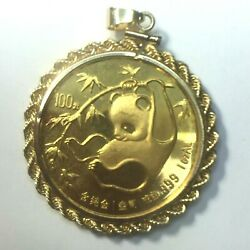 Circa 1985and039s 100 1 Oz Panda Gold Coin In 14k Rope Link Bezel 36.3gm..