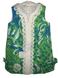 NWT LILLY PULITZER SHIFT GIRLS SZ 2 LIMEADE ROAR OF THE JUNGLE BLUE GREEN WHITE