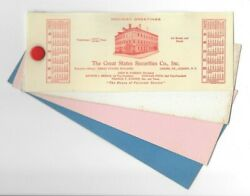 Vintage Celluloid Blotter 1925 Calendar Great States Securities Albany Ny Xmas