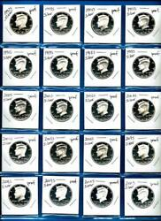 1992 S - 2020 S Silver Proof Kennedy Half Dollar Set - 29 Coins