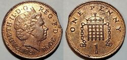 2004 - Large Curved Clip - Great Britian One Penny Major Mint Error 9153