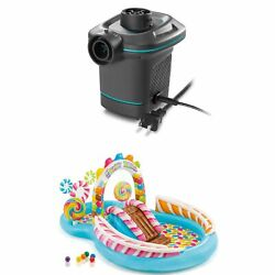 Intex 120v Quick Fill Electric Air Pump And 9ft X 51in Kids Inflatable Candy Pool