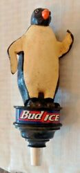 Beer Tap Handle Brewery Man Cave Bar Decor Knob Bud Ice Penguin Wooden 9'' Rare