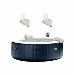 Intex Purespa Inflatable Bubble Jets 6 Person Hot Tub And Drink Tray 2 Pack